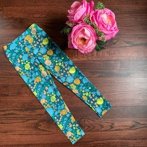 LuLaRoe S/M kids leggings, blue floral